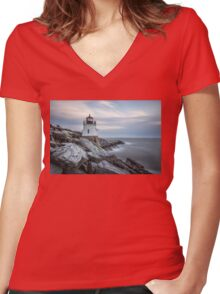 Castle Hill Lighthouse at Sunset Women's Fitted V-Neck T-Shirt