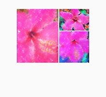 Collage with Pink Hibiscus Womens Fitted T-Shirt