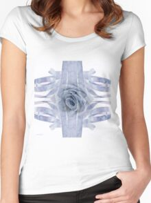 Blue Rose And Ribbon Lace Women's Fitted Scoop T-Shirt