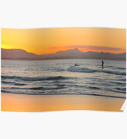 Surfing at Watego's Beach Poster