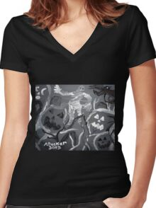 Halloween Shadows Women's Fitted V-Neck T-Shirt