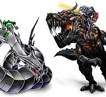 cyber dragon vs grimlock by nraffloer