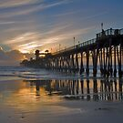 Oceanside Pier, Low Tide Sunset by photosbyflood