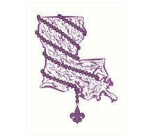 Louisiana State Wrapped in Purple Beads Art Print