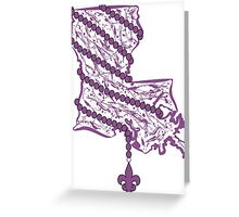 Louisiana State Wrapped in Purple Beads Greeting Card