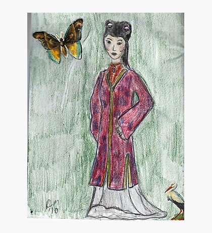 Lady With Butterfly- Asian Women Series #4 Photographic Print