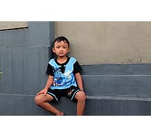 Boy On A Wall Photographic Print