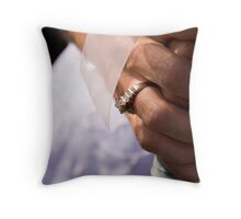 Bride, Rings, and Flowers Throw Pillow