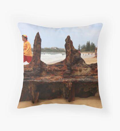 Lifeguard at Dicky Beach Throw Pillow