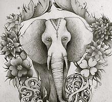 black & white indian elephant  by melaniedann