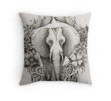 black & white indian elephant  Throw Pillow