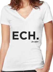 ECH Black Women's Fitted V-Neck T-Shirt