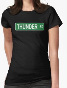 Thunder Road street sign (color version) Womens Fitted T-Shirt