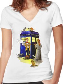 Cat Lady Companion Women's Fitted V-Neck T-Shirt