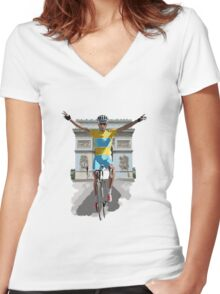 Triomphe Women's Fitted V-Neck T-Shirt