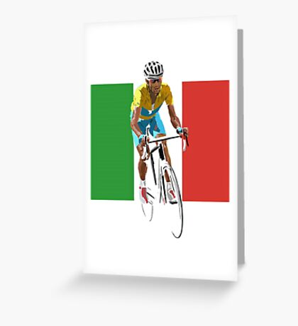 Maillot Jaune, Italy Flag 2 Greeting Card