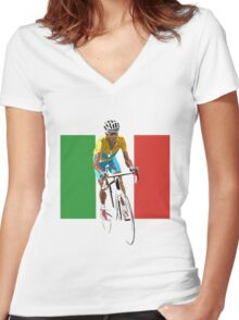 Maillot Jaune, Italy Flag 2 Women's Fitted V-Neck T-Shirt