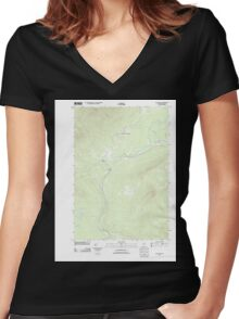 Maine USGS Historical Map Quill Hill 20110909 TM Women's Fitted V-Neck T-Shirt
