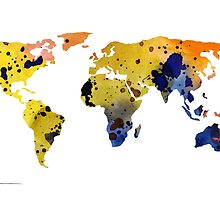 World map silhouette colorful poster by Joanna Szmerdt