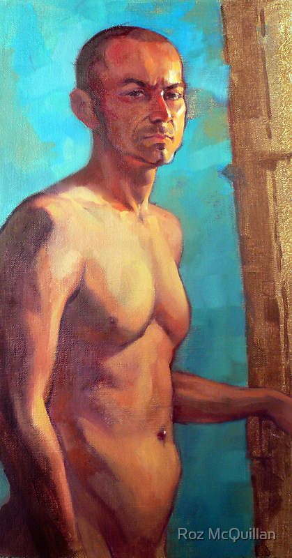 Portrait of Michel, oil painting on linen by Roz McQuillan