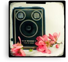 Vintage Kodak Brownie camera with pink apple blossom flowers Canvas Print