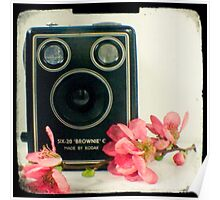 Vintage Kodak Brownie camera with pink apple blossom flowers Poster
