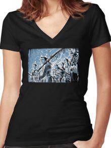 Seven Samurai Art Akira Kurosawa film movie illustration sword kung fu ninja japan japanese cartoon joe badon men 1954 action Women's Fitted V-Neck T-Shirt