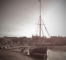 Sailing Ship moored at Blakeney by GoMordecai