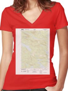 Maine USGS Historical Map Rainbow Lake East 20110831 TM Women's Fitted V-Neck T-Shirt