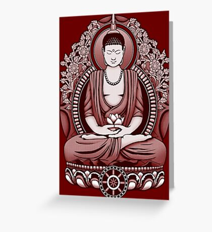 Gautama Buddha 2 Colour Halftone Greeting Card