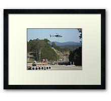 Helicopter sling work Framed Print