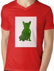 Green french bulldog art print watercolor painting T-Shirt