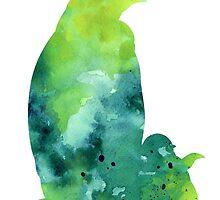 Penguin silhouette painting watercolor art print by Joanna Szmerdt