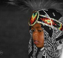 Dancing at the Pow Wow,  Young Boy in Grand March by Wayne King