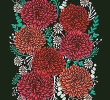 Chrysanthemums - Floral, Flower, Vintage, Design, Illustration by Andrea Lauren by Andrea Lauren