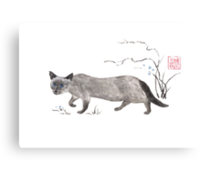Blue-eyed menace sumi-e painting Canvas Print
