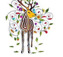Coloured stag by ArtyMissOwl