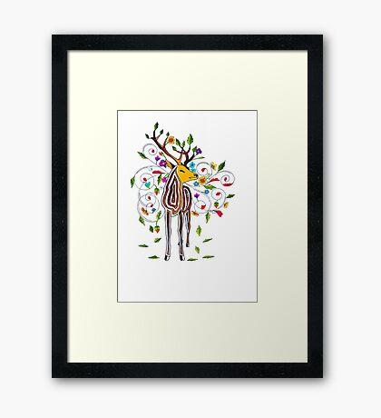 Coloured stag Framed Print
