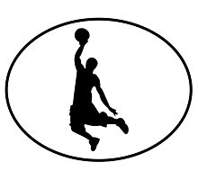 Basketball Dunk Oval Photographic Print