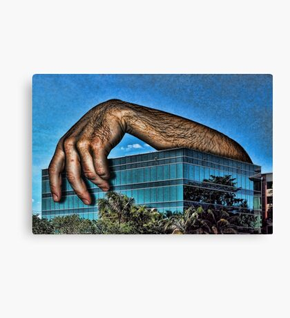 Embracing a Boring Building Canvas Print