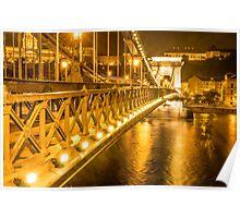 Szechenyi Lanchid (The Chain Bridge) across the Danube River at Night, Budapest, Hungary Poster