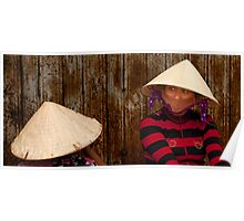 Women in Bamboo Hats on the Bank of the Mekong River, Vietnam Poster