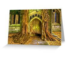 Yew Trees and North Door, St. Edwards Parish Church, Stow on the Wold, England Greeting Card