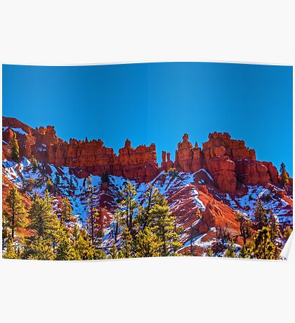 Red Rock Hoodoos and Snow, Zion National Park, Utah Poster