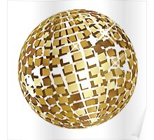 Golden disco ball 3 Poster