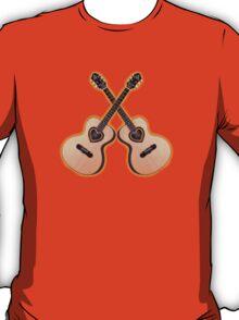 Double acoustic Guitar heart T-Shirt