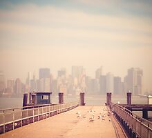 Vintage view of Manhattan from the pier by jaysanstudio