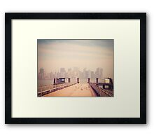 Vintage view of Manhattan from the pier Framed Print