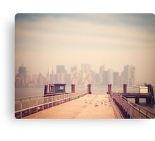 Vintage view of Manhattan from the pier Canvas Print