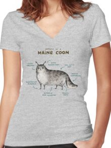 Anatomy of a Maine Coon Women's Fitted V-Neck T-Shirt